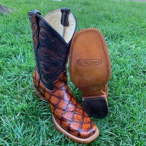 Men's Fish Print piraruco Square Toe CowBoy Boots